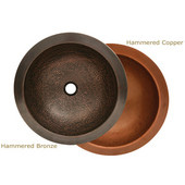 Copperhaus Collection Hammered Round Prep Sink, 16-1/2'' Dia. x 5-3/4''H, Hammered Copper Finish