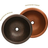 Copperhaus Collection Round Prep Sink, 16-1/2'' Dia. x 6-1/4''H, Hammered Bronze Finish