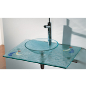 36''W Wall Mounted Countertop and Vessel in Blue Basket Woven Transparent Glass