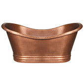 Bathhaus Collection Copper Double Ended Bathtub with Hammered Exterior, Lightly Hammered Interior in Hammered Copper, 71'' W x 32'' D x 33'' H