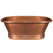 Bathhaus Collection Copper Double Ended Bathtub w/ Hammered Exterior, Lightly Hammered Interior in Hammered Copper, 67'' W x 32'' D x 26'' H