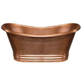 Bathhaus Collection Handmade Copper Double Ended Bathtub w/ Smooth Exterior, Hammered Interior in Hammered Copper, 68'' W x 30'' D x 31-1/2'' H