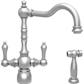 Englishhaus dual lever handle faucet with traditional swivel spout, solid lever handles and solid brass side spray, Polished Chrome Finish