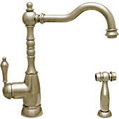 Englishhaus single lever handle faucet with traditional swivel spout, solid lever handle and solid brass side spray, Brushed Nickel Finish