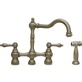 Englishhaus bridge faucet with long traditional swivel spout, solid lever handles and solid brass side spray, Brushed Nickel Finish