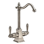 Point of Use Instant Hot/Cold Water Faucet with Traditional Spout and Self Closing Hot Water Handle, Brushed Nickel