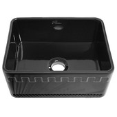 Reversible Series Fireclay Sink with Athinahaus Front Apron, Black, 24''W x 18''D x 10''H