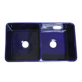 Reversible Series Double Bowl Fireclay Sink with Smooth Front Apron, Sapphire Blue, 33''W x 18''D x 10''H