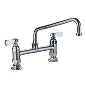 , Heavy Duty Utility Bridge Faucet With An Extended Swivel Spout and Lever Handles, 8''W x 12''D x 11''H