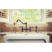 Vintage III Plus Bridge Faucet with Long Traditional Swivel Spout, Lever Handles and Solid Brass Side Spray In Oil Rubbed Bronze, 10-7/8''W x 9-1/4''D x 12-1/8''H
