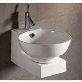 Isabella Round Above-Mount Bath Sink with Wall-Mount Base, White Finish