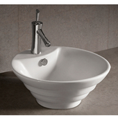 Isabella Round Stepped Above-Mount Bath Sink, White Finish