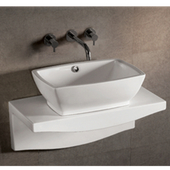 Isabella Rectangular Above-Mount Bath Sink with Wall-Mount Countertop, White Finish