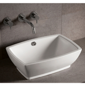 Isabella Rectangular Above-Mount China Bath Sink, White Finish