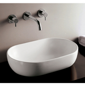 Isabella Oval Above-Mount Bath Sink, White Finish