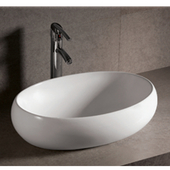 Isabella Oval Above-Mount China Bath Sink, White Finish