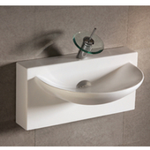 Isabella U-Shaped Bowl Bath Sink with Wall-Mount Basin, White Finish