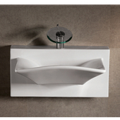 Isabella Rectangular Bowl Bath Sink with Wall-Mount Basin, White Finish