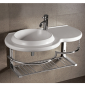 Isabella Round Bowl Bath Sink with Wall-Mount Basin, White Finish