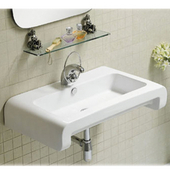 Isabella Rectangular Wall-Mount Bath Sink, White Finish