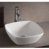 Isabella Square Above-Mount Bath Sink, White Finish