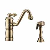 Vintage III Plus single lever faucet with traditional swivel spout and solid brass side spray In Antique Brass, Spout Height: 6-1/8'', Spout Reach: 9-1/2''