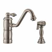 Vintage III Plus single lever faucet with traditional swivel spout and solid brass side spray In Brushed Nickel, Spout Height: 6-1/8'', Spout Reach: 9-1/2''