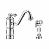 Vintage III Plus single lever faucet with traditional swivel spout and solid brass side spray In Polished Chrome, Spout Height: 6-1/8'', Spout Reach: 9-1/2''
