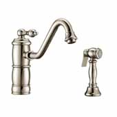Vintage III Plus single lever faucet with traditional swivel spout and solid brass side spray In Polished Nickel, Spout Height: 6-1/8'', Spout Reach: 9-1/2''