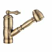 Vintage III Plus single hole, single lever faucet with a pull-out spray head In Antique Brass, Spout Height: 5-3/4'', Spout Reach: 8''