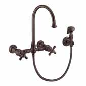 Vintage III Plus Wall Mount Faucet with a Long Gooseneck Swivel Spout, Cross Handles and Solid Brass Side Spray In Oil Rubbed Bronze, Spout Height: 7-1/2'' H