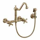 Vintage III Plus Wall Mount Faucet with a Long Traditional Swivel Spout, Cross Handles and Solid Brass Side Spray In Antique Brass, Spout Height: 7-3/4'' H