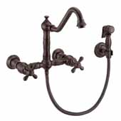 Vintage III Plus Wall Mount Faucet with a Long Traditional Swivel Spout, Cross Handles and Solid Brass Side Spray In Oil Rubbed Bronze, Spout Height: 7-3/4'' H