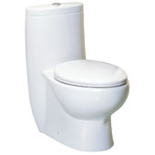 Magic Flush Eco-Friendly One Piece Toilet, Siphonic Action Dual Flush System, 1.6/1.1 GPF Capacity, 16''W x 28-3/4''D x 30-3/4''H