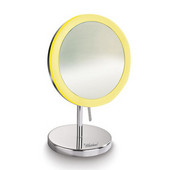Round Freestanding Led 5X Magnified Mirror, Polished Chrome