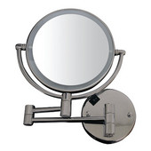 Round Wall Mount Dual Led 7X Magnified Mirror, Brushed Nickel
