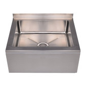 Noah's Collection Single Bowl Wall Mount Mop Sink, Brushed Stainless Steel, 28''W x 28''D x 10''H