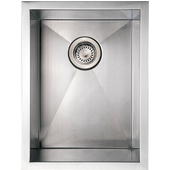 Noah Collection Commercial Single Bowl Undermount Sink, Rectangular Shape, 15''W x 20''D x 10'' H, Brushed Stainless Steel