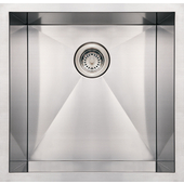 Noah Collection Commercial Single Bowl Undermount Sink, Square Shape, 19''W x 20''D x 10'' H, Brushed Stainless Steel
