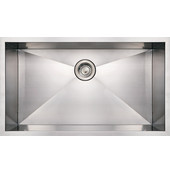 Noah Collection Commercial Single Bowl Undermount Sink, Rectangular Shape, 32''W x 19''D x 10'' H, Brushed Stainless Steel