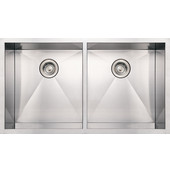 Noah Collection Commercial Double Bowl Undermount Sink with Equal Sized Bowls, 37''W x 20''D x 10'' H, Brushed Stainless Steel