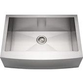 Noah Collection Commercial Single Bowl Arched Front Apron Sink, Rectangular Shape, 30''W x 21''D x 10'' H, Brushed Stainless Steel