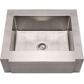 Noah Collection Commercial Single Bowl Notched Apron Sink, Rectangular Shape, 30''W x 26 1/4''D x 10'' H, Brushed Stainless Steel