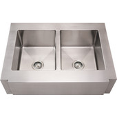 Noah Collection Commercial Double Bowl Notched Apron Sink with Equal Sized Bowls, 36''W x 26 1/4''D x 10'' H, Brushed Stainless Steel