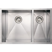 Noah Collection Commercial Double Bowl Undermount Sink with Large Bowl on Left, 29''W x 20''D x 10'' H, Brushed Stainless Steel