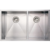 Noah Collection Commercial Double Bowl Undermount Sink with Large Bowl on Left, 33''W x 20''D x 10'' H, Brushed Stainless Steel