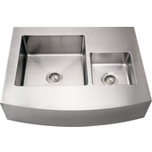 Noah Collection Commercial Double Bowl Arched Front Apron Sink, Rectangular Shape, 36''W x 29''D x 8 1/4'' H, Brushed Stainless Steel