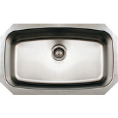 Noahs Collection Undermount Kitchen Sink, Single Bowl, Brushed Stainless Steel