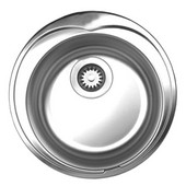 Large Round Drop-In Sink, 20'' Dia., Brushed Stainless Steel, No Hole