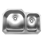 Double Bowl Undermount Sink, 31 1/2''W x 20 3/4'' D, Brushed Stainless Steel